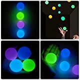 Cathery 8Pcs Ceiling Sticky Balls Decompress Stress Relief Balls, Squishy Glow Luminescent Ball, Light Up Ball, Fun Toy for Kids and Adults (24pcs(Clear+Orange+Blue+Green), 2.6inch)