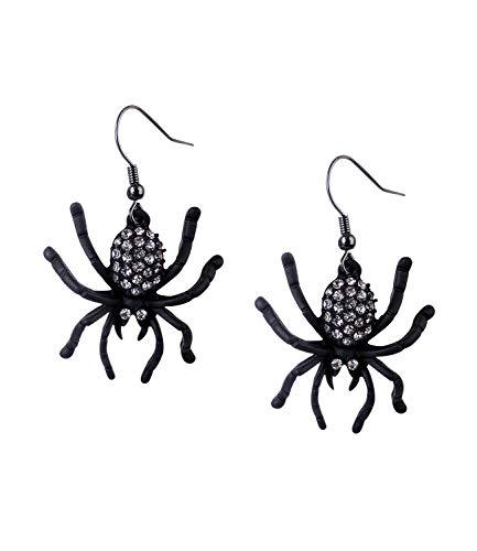 SIX Ohrringe mit schmucksteinverzierten Spinnenanhängern für Halloween, Kostüm, Karneval, Fasching, Hexe (797-908)