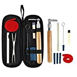 9 PCS Piano Tuning Kit - Piano Tuner Tools with Star Head L-Shape Wrench Hammer, 3 Kinds Mute Tools, Mute Clamp, Temperament Strip and 1 Black Case