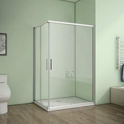 Duschkabine Eckeinstieg 100x80cm Duschabtrennung Dusche Schiebetür Duschwand 5mm ESG Sicherheitsglas Höhe 185cm