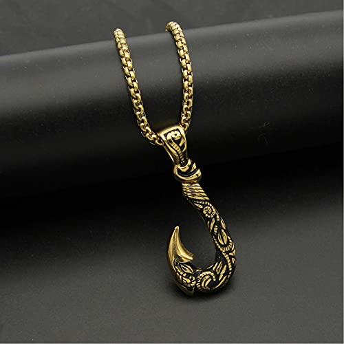 Vikingo 3D Pez Gancho De Ancla Colgante Collar para Los Hombres Acero Inoxidable Hecho A Mano Víspera de Todos los Santos Amuleto Joyas,Oro,65cm(26in)