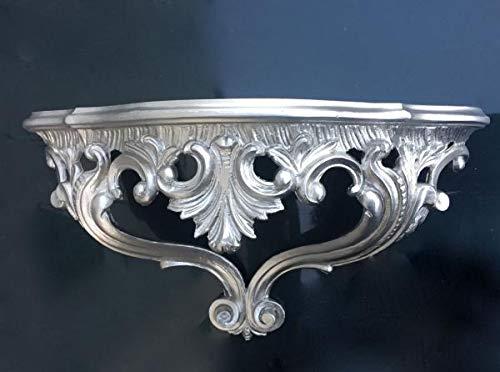 Artissimo Barock Wandkonsole, Konsole, Antik Wandregal, Spiegelkonsole Silber 38x20x16