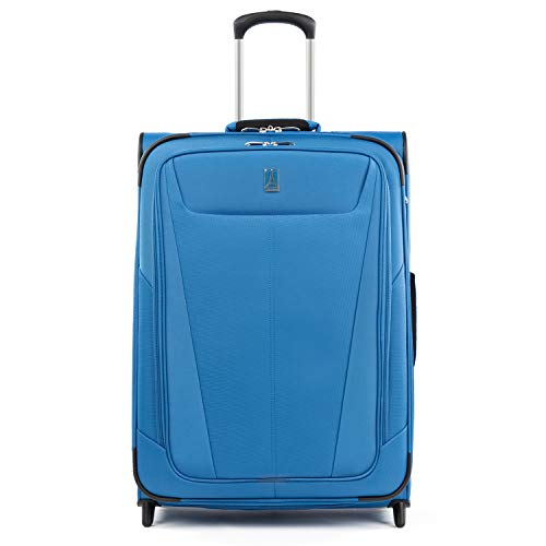 Travelpro Maxlite 5-Softside Lightweight Expandable Upright Luggage, Azure Blue, Checked-Medium 26-Inch