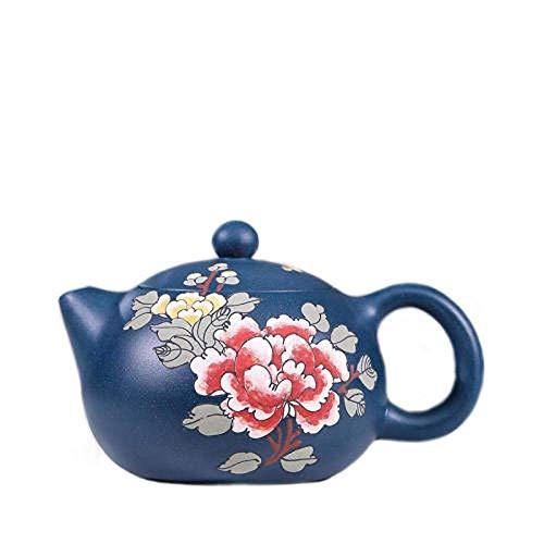 WMYATING Juego de té de Yixing con combinación de tetera Zisha hecha a mano, tetera oriental Zisha, tetera de arcilla, tetera original verde arcilla, azul (color: azul)