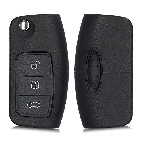kwmobile Autoschlüssel Gehäuse kompatibel mit Ford 3-Tasten Klappschlüssel Autoschlüssel - ohne Transponder Batterien Elektronik - Auto Schlüsselgehäuse - Schwarz