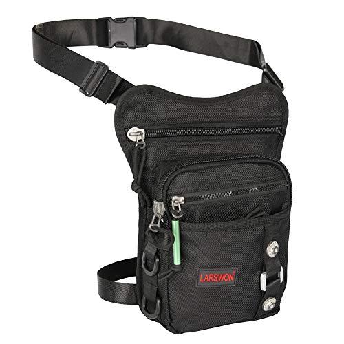 Larswon Thigh Pack, Leg Bag Thigh Pouch Bag Tactical Waist Bag Motrocycle Bag Waterproof Black