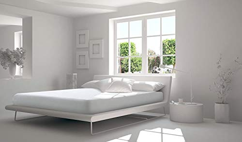 Softness - Protector de colchón, 100% algodón, muletón, doble cara, gorros grandes, 30 cm, fabricación europea (160_x_200_cm)
