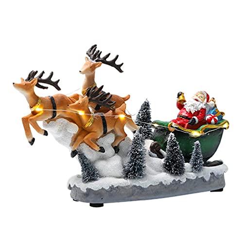 Liangjunjun Statua In Miniatura Di Babbo Natale Con Renne In Slitta Con LED Ligh Musical Animated Village Scene Figurine In Miniatura Decorazioni Natalizie Con Slitta E Renne Di Babbo Natale