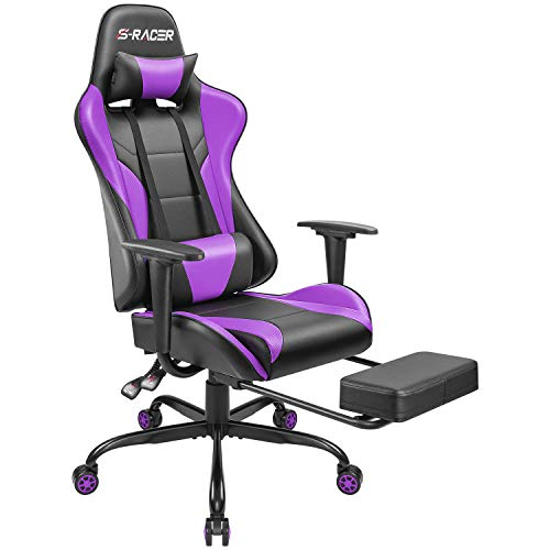 Homall Gaming Chair Computer Office Chair Ergonomic Desk Chair with Footrest Racing Executive Swivel Chair Adjustable Rolling Task Chair (Purple) chair gaming purple