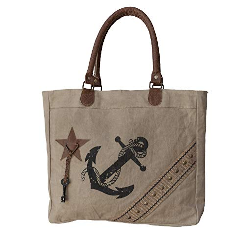 Upcycled Canvas Vintage Tote Shopper by Dorset Bay. Heavy Duty Durable 350gsm Canvas Ladies Shoulder Bag for Work, Travel, School, Casual. Great Everyday Bag