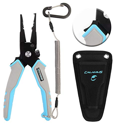 Calamus A7 Fishing Pliers, 7 inch Split Ring Nose, Blue Handles