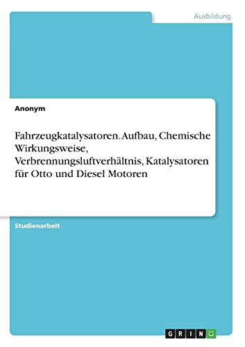 Fahrzeugkatalysatoren. Aufbau, Chemische Wirkungsweise, Verbrennungsluftverhältnis, Katalysatoren für Otto und Diesel Motoren