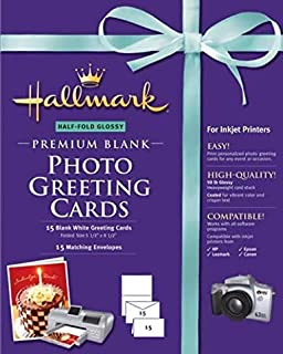 Premium Half-Fold Glossy Blank Photo Greeting Cards with Design Software (for Inkjet Printers) (Birthday, Anniversary, Wed...