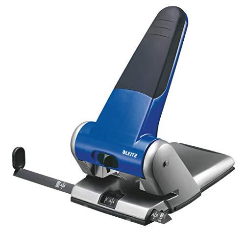 Leitz Extrastarker Registraturlocher für das Büro, 65 Blatt, Anschlagschiene mit Formatangaben, Metall, Blau, 51800035