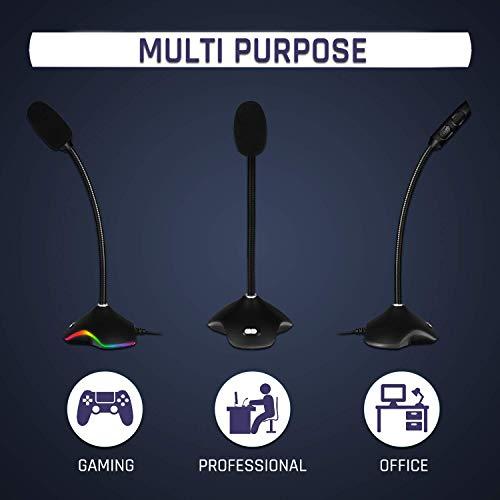 KLIM Rhapsody Micrófono Gaming USB de Escritorio RGB + Nuevo 2020 + Óptima Calidad de Sonido + Ideal para grabación y reconocimiento de Voz, Streaming, Youtube, Podcast + Compatible Windows Mac PS4