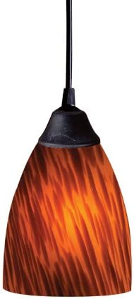 Elk 406-1ES 1-Light Pendant quality assurance Limited time for free shipping In Dark Espresso Rust Glass and