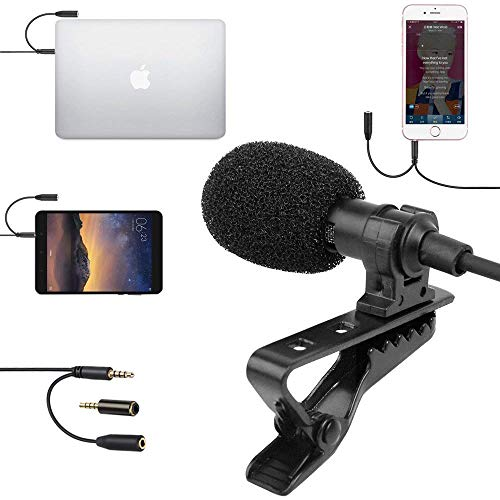 SUPON Lavalier Lapel Microphone Omnidirectional Condenser Mic with Headphone Jack 3.5mmCompatible for iPhone, Android &Windows Smartphones,YouTube,Interview,Studio,Video Recording,Noise Cancelling