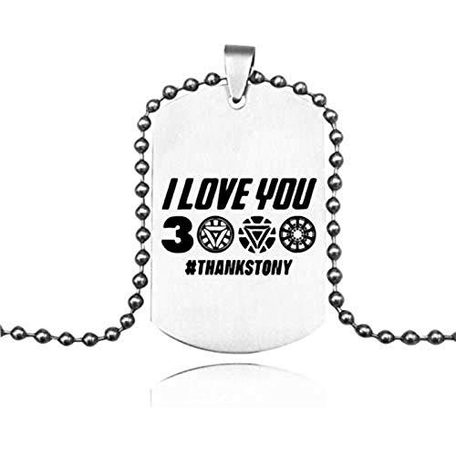 YANCONGMarvel Iron Man I Love You 3000 Collares Pendientes de Acero Inoxidable Grabado Nombre Love Tag Collares Logotipo Personalizado Joyería