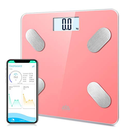 SENSSUN Digitale Personenwaage Körperfettwaage, Smart Bluetooth Personenwaage mit APP, digitale Waage für Körperfett, BMI, Gewicht, Muskelmasse, Wasser,Knochengewicht, BMR, usw bis 180kg,Rosa