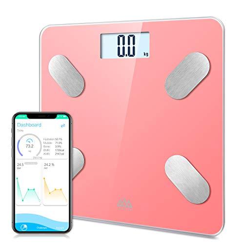 Báscula Grasa Corporal Bluetooth Básculas de baño SENSSUN,Analiza la composición corporal, porcentaje de grasa corporal,con 13 Funciones,IMC/músculo/grasa corporal/masa ósea etc(Rosa)