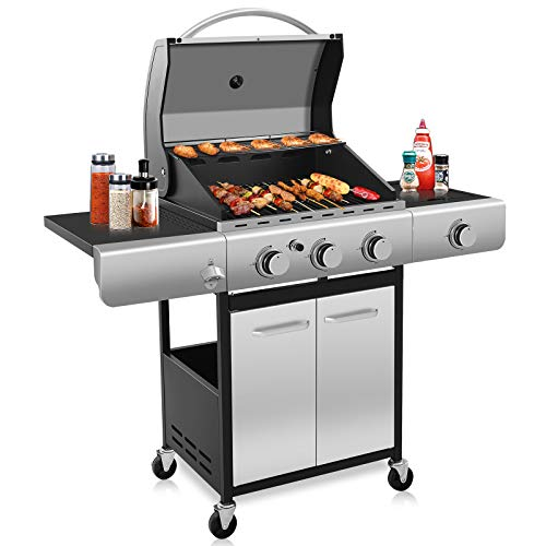 Kismile 3-Burner Liquid Propane Gas Grill, 34000 BTU BBQ Gas Grill with Stainless steel & Enamelled Cooking Grills, Perfect Gas Barbecue Wagon for Outdoor Grills Propane