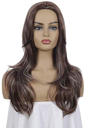 Peluca sexy para mujer, 56 cm, color natural, color marrón claro, marrón oscuro, oro claro