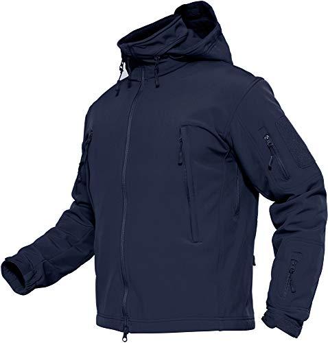 TACVASEN Herren Wasserdichte Softshell Fleece Outdoor Jacke mit Klappbare Kapuze, DE XL (Tag XXL), Navy blau
