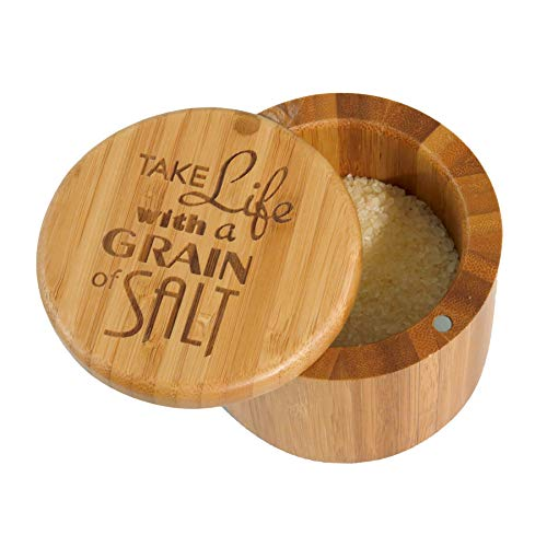 Totally Bamboo Salt Box Bamboo Storage Box, with Magnetic Swivel Lid,'Take Life with a Grain of Salt' Permanently Engraved on Lid