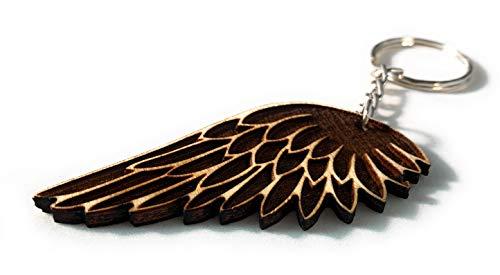 PERFEKTO24 Schlüsselanhänger aus Holz 'Engelsflügel' graviert tolles Geschenk für Frauen und Männer Handmade in Germany 7cm x 3cm