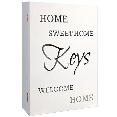 Wohaga Schlüsselkasten Holzkasten 'Home Sweet Home' in Weiss 22x7x32cm 6 Schlüsselhaken Aufbewahrungsnische - Schlüsselbox Schlüsselbrett Schlüsselschrank