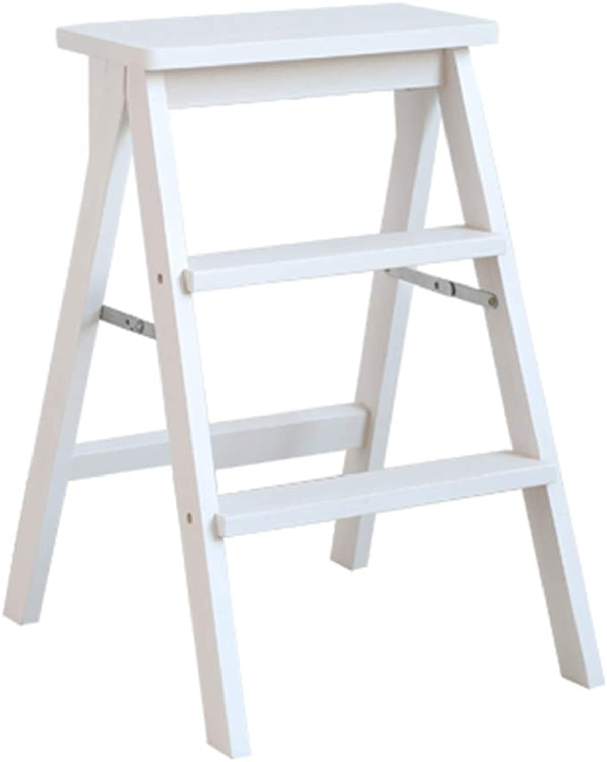 ZHAOYONGLI Stools Footstool Step Stools Dining Ladder Solid Wood Folding Chair Herringbone Ladder Home Multi-Function Ladder Stool Climbing Ladder Creative Solid Durable Long Lasting (color   White)