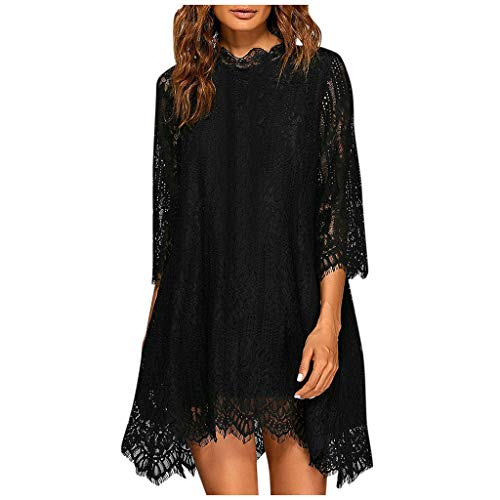 Shakumy Women Lace Dress Elegant 3/4 Sleeve Loose Mini Dress Vintage Cocktail A-line Swing Party Dress Evening Tunic Dress