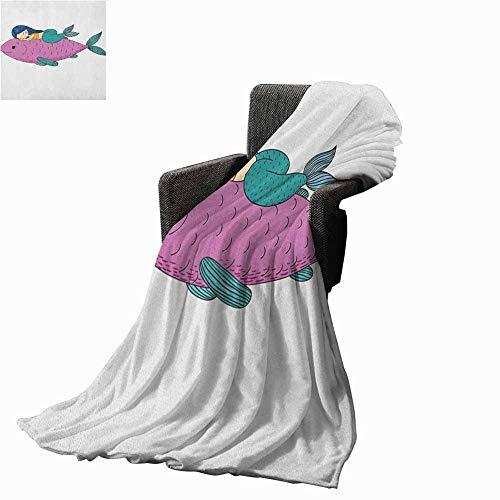 """Mermaid Camp Chair Blanket Baby Mermaid Sleeping on Top Giant Fish Happy Best Friends Kids Nursery ThemePurple Teal Printing Blanket 40""""x60"""" inch"""