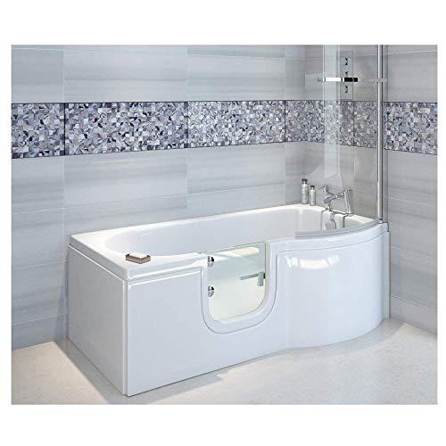 Badewanne mit Tür, Seniorenbadewanne 167,5x85/75x53cm mit Duschkabine,Wannenschürze und Ablauf/Sifon, Ausführung RECHTS