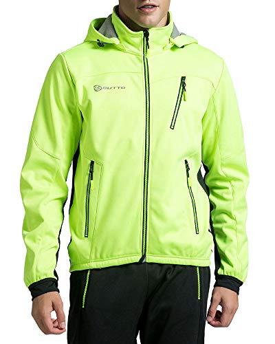 YAOTT Herren Fahrradjacke Wasserdicht Winddicht Atmungsaktiv Warm Fleece Jacket Softshell Jacke Outdoor Funktionsjacke Grün 3XL