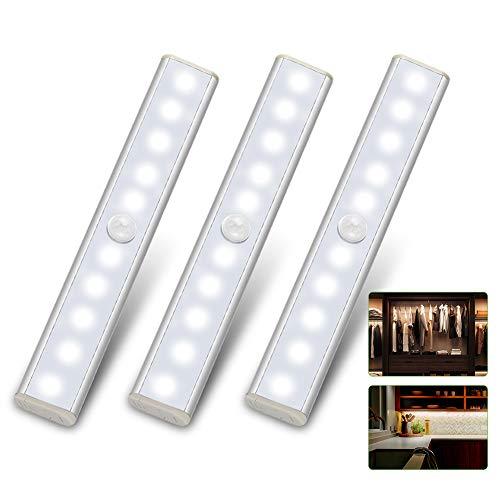 LED Unterbauleuchte Küche Batteriebetrieben LED Sensor Licht 10 LED Leiste Batterie Schrankbeleuchtung mit Bewegungsmelder LED Closet Light Kabellos Schranklicht Schrankleuchten Nachtlicht-Weiß,3 Pack