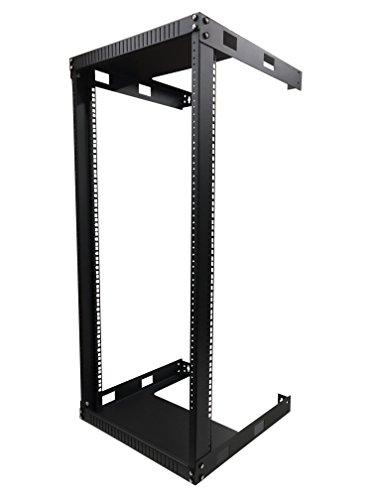 KENUCO Black 20U Wall Mount Open Frame Steel Network Equipment Rack 17.75 Inch Deep - W19'' x D17.75'' x H38.5'' - Black - 20U