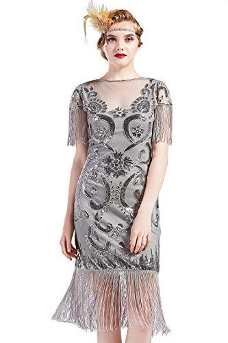 Coucoland dames 1920 jurk ronde hals korte mouwen gedecoreerd met franjes jaren 20 flapper Charleston pailletten jurken Great Gatsby cocktail party dames carnaval kostuum jurk