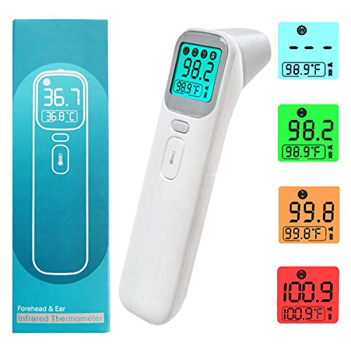 Digital Thermometer for Adults and Baby, No Touch Infrared Forehead Thermometer for Fever, Instant Read Humans Ear and Head Temporal Temperature