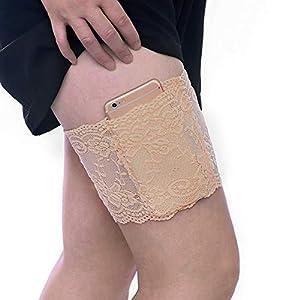 Boolavard Elástico anti-Rozaduras Previene las Bandas de la Pierna de encaje sexy Rozaduras Muslo (XL:62-70cm, Beige)