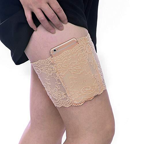 Boolavard Elastic Anti-Chafing verhindert Schenkelscheuern Sexy Spitzenbeinbänder (XL:62-70cm, Beige)