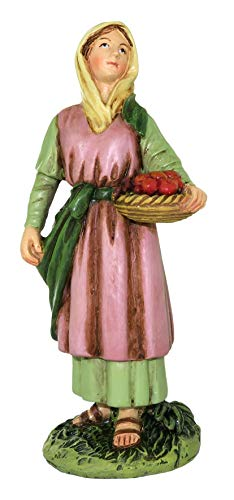 Ferrari & Arrighetti Nativity Scene Figurine: Shepherdess with Fruit Basket - Martino Landi Collection - 10 cm