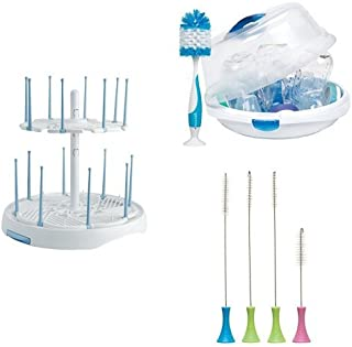 Munchkin Cleaning and Sterilizing Set  with a High Capacity Drying Rack, Cleaning Brush Set and Steam Guard Microwave Sterilizer