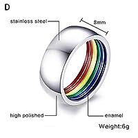 CHENTAOCS メンズ・レディース・レインボーカラフルなリングラウンド婚約結婚指輪ステンレス鋼トレンディバンドレズビアン&ゲイカップルリングジュエリー 使いやすい (Main Stone Color : D, Ring Size : 11)