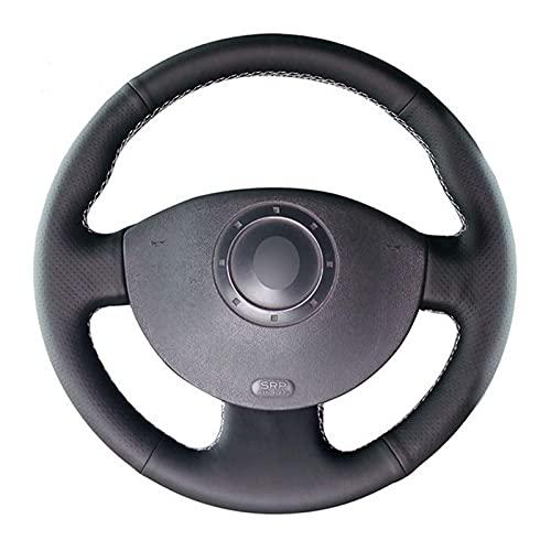 BISsouad Couvre Volant de Voiture Cousu Main en Cuir Artificiel Noir, adapté pour Renault Megane 2 2003-2008 Kangoo 2008 scénic 2 2003-2009