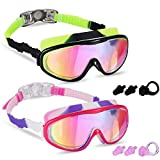 Young4us 2 Pack Kids Swim Goggles, Swimming Glasses for Children from 3 to 15 Years Old