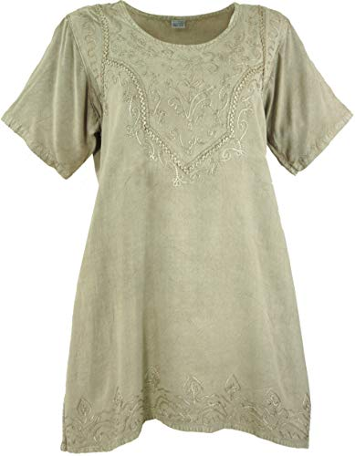 Guru-Shop Besticktes Indisches Hippie Top, Boho-chic Bluse, Damen, Beige, Synthetisch, Size:40, Tops & T-Shirts Alternative Bekleidung