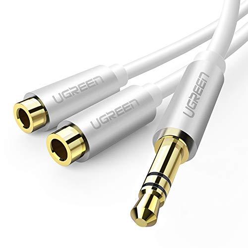 UGREEN Cavo Audio Sdoppiatore Doppio Jack 3,5 mm Cavo Adattatore Audio Splitter per Smartphone, Tablet, iPad, Cuffie, MP3, PC ecc - Bianco