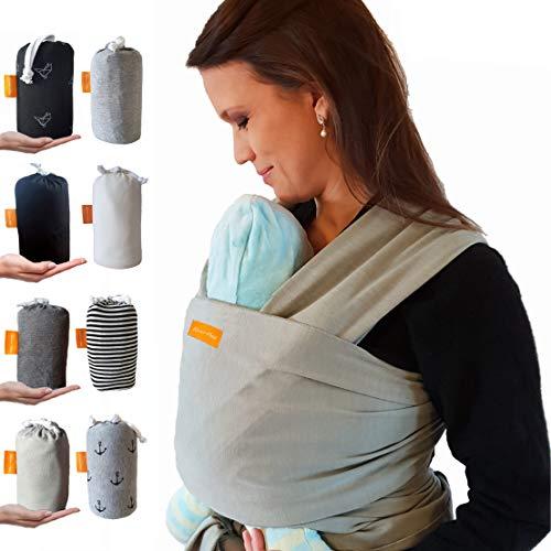 Kleiner Held Babytragetuch hochwertiges elastisches Tragetuch Babytrage für Früh- und Neugeborene Babys ab Geburt bis 15 kg inkl. Wickelanleitung und Aufbewahrungstasche - Farbe hellgrau