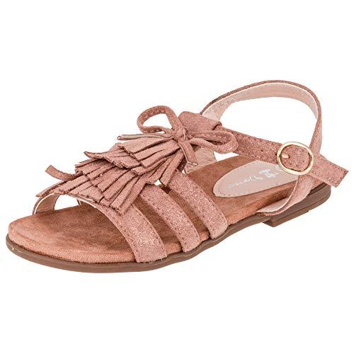 Modische Mädchen Sandalen Sandaletten Kinder Schuhe mit Schnalle und Fransen M569rs Rosa 31 EU
